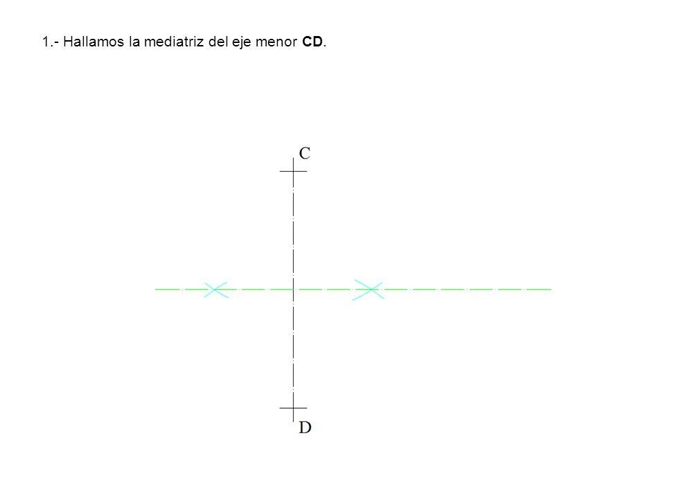 1.- Hallamos la mediatriz del eje menor CD.