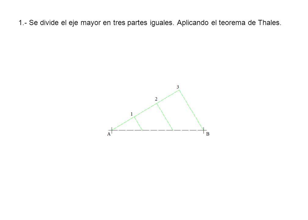 1.- Se divide el eje mayor en tres partes iguales. Aplicando el teorema de Thales.