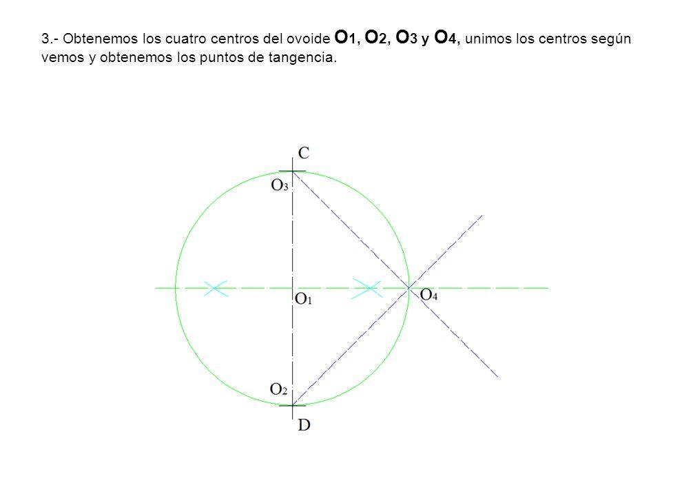 3.- Obtenemos los cuatro centros del ovoide O 1, O 2, O 3 y O 4, unimos los centros según vemos y obtenemos los puntos de tangencia.