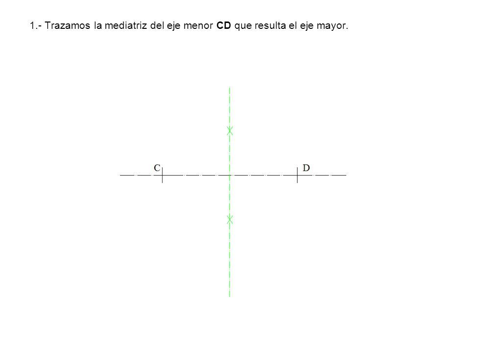 1.- Trazamos la mediatriz del eje menor CD que resulta el eje mayor.
