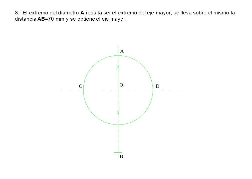 3.- El extremo del diámetro A resulta ser el extremo del eje mayor, se lleva sobre el mismo la distancia AB=70 mm y se obtiene el eje mayor.