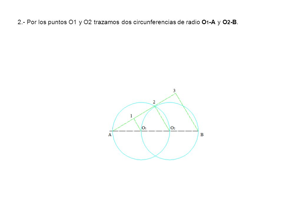 2.- Por los puntos O1 y O2 trazamos dos circunferencias de radio O 1 -A y O 2- B.