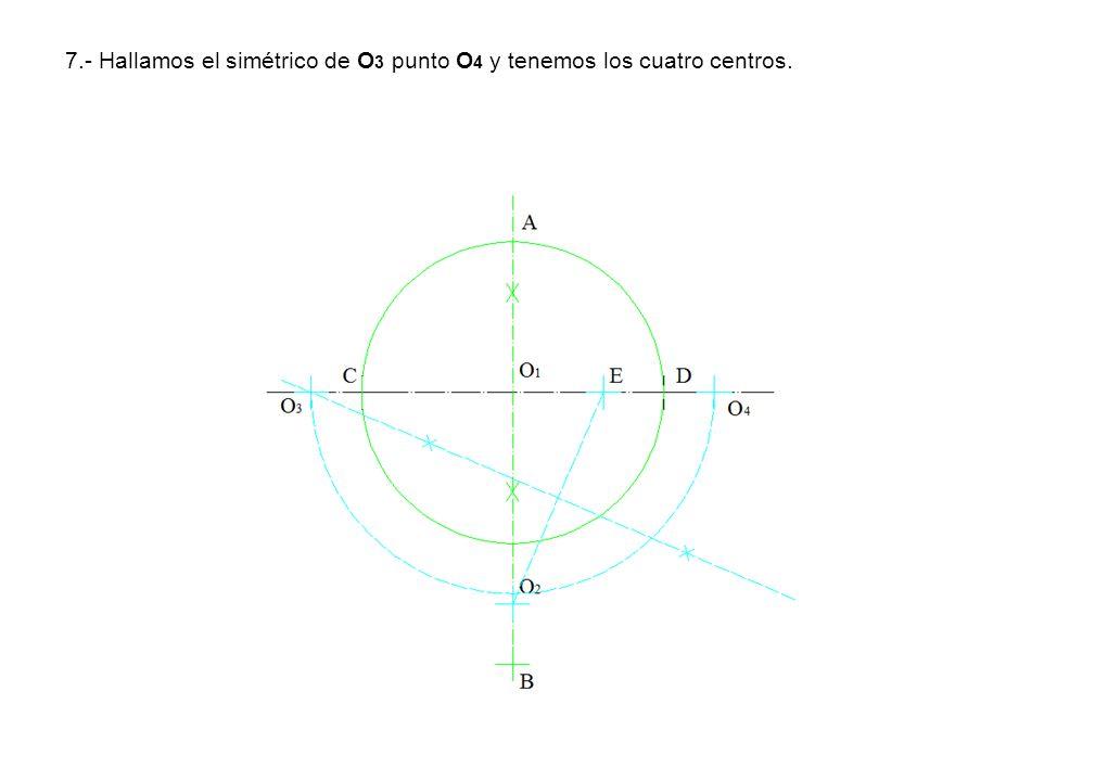 7.- Hallamos el simétrico de O 3 punto O 4 y tenemos los cuatro centros.