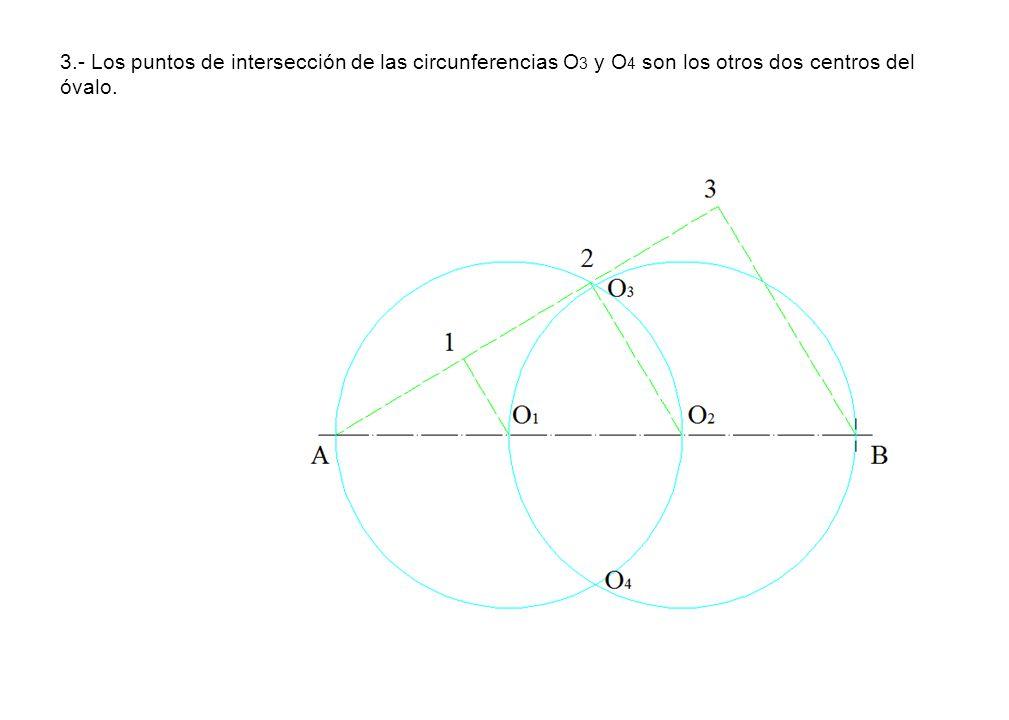 3.- Los puntos de intersección de las circunferencias O 3 y O 4 son los otros dos centros del óvalo.