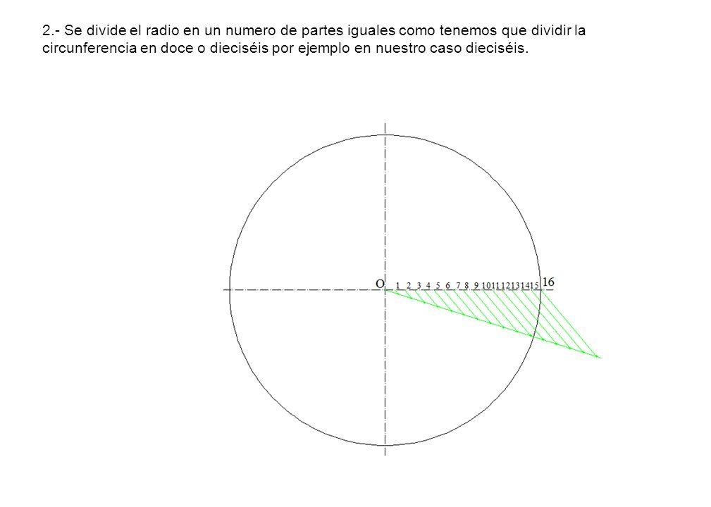 2.- Se divide el radio en un numero de partes iguales como tenemos que dividir la circunferencia en doce o dieciséis por ejemplo en nuestro caso dieci