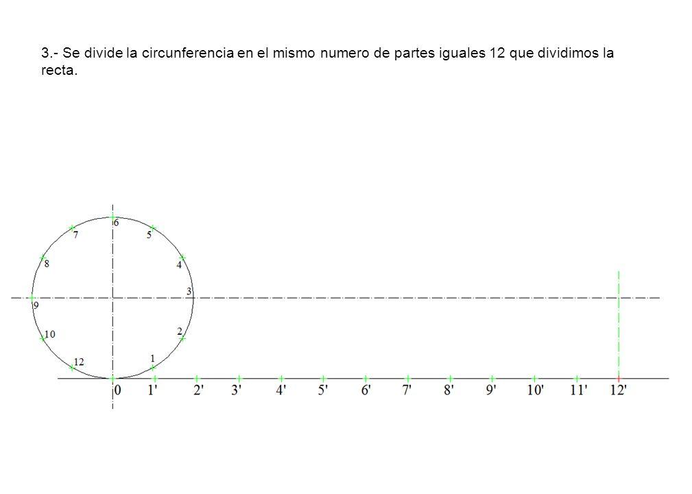 3.- Se divide la circunferencia en el mismo numero de partes iguales 12 que dividimos la recta.
