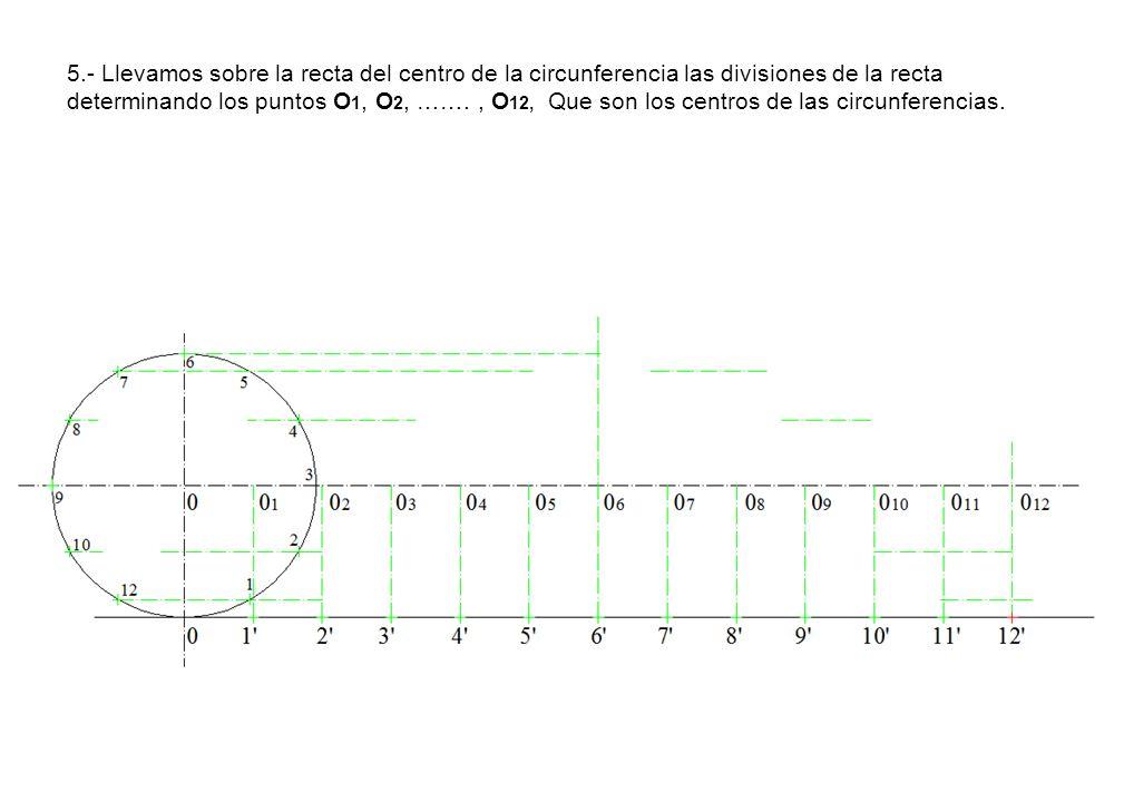 5.- Llevamos sobre la recta del centro de la circunferencia las divisiones de la recta determinando los puntos O 1, O 2, ……., O 12, Que son los centro