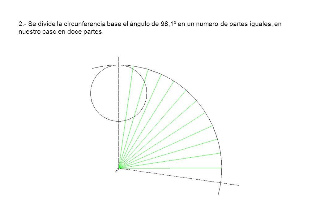 2.- Se divide la circunferencia base el ángulo de 98,1º en un numero de partes iguales, en nuestro caso en doce partes.