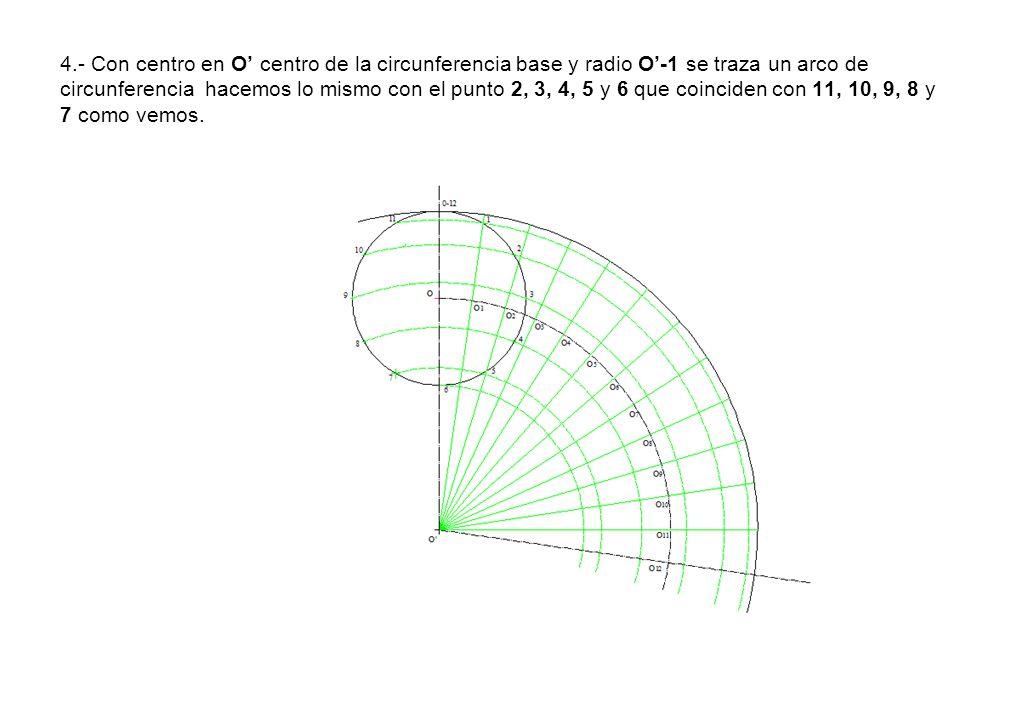 4.- Con centro en O' centro de la circunferencia base y radio O'-1 se traza un arco de circunferencia hacemos lo mismo con el punto 2, 3, 4, 5 y 6 que