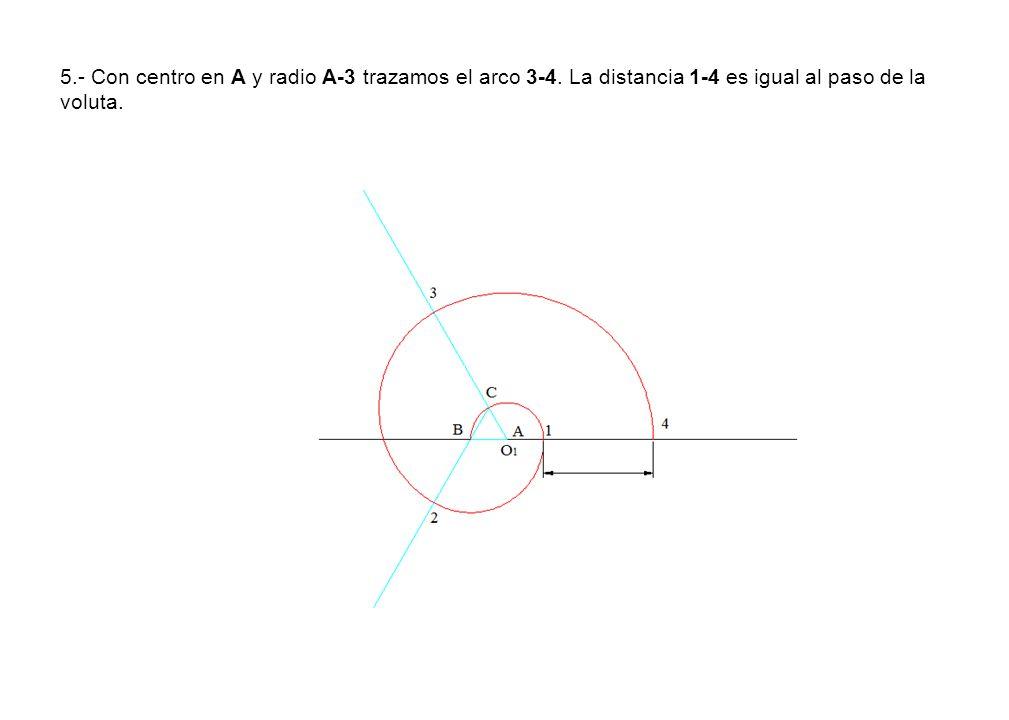 5.- Con centro en A y radio A-3 trazamos el arco 3-4. La distancia 1-4 es igual al paso de la voluta.