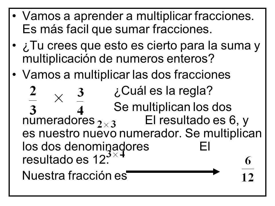 Vamos a aprender a multiplicar fracciones.Es más facil que sumar fracciones.