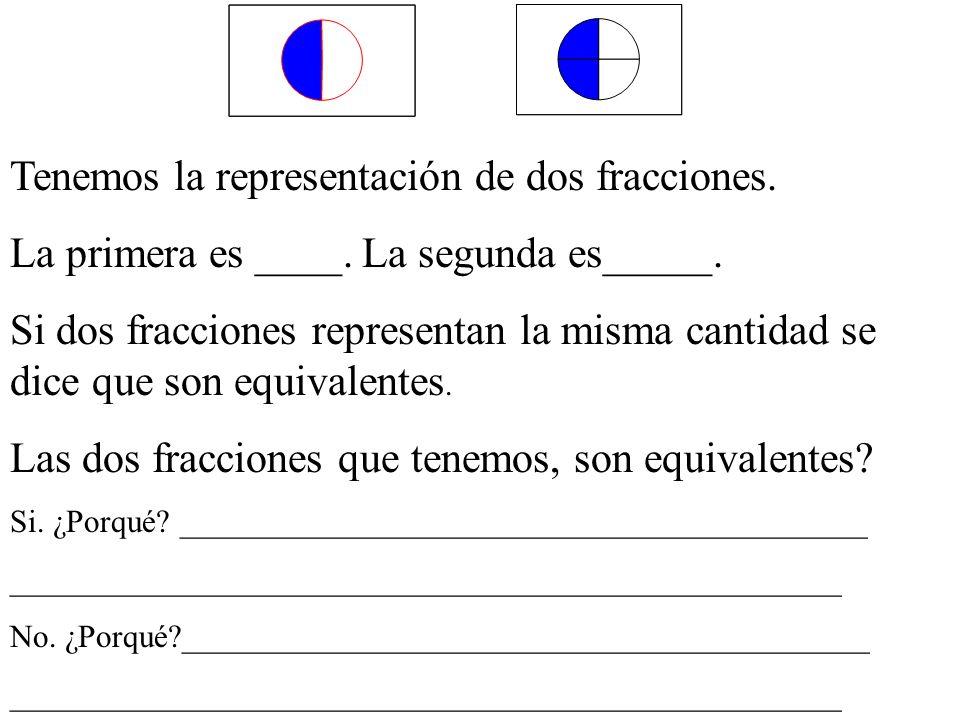 Tenemos la representación de dos fracciones.La primera es ____.