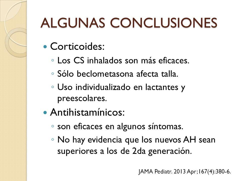 ALGUNAS CONCLUSIONES Corticoides: ◦ Los CS inhalados son más eficaces.