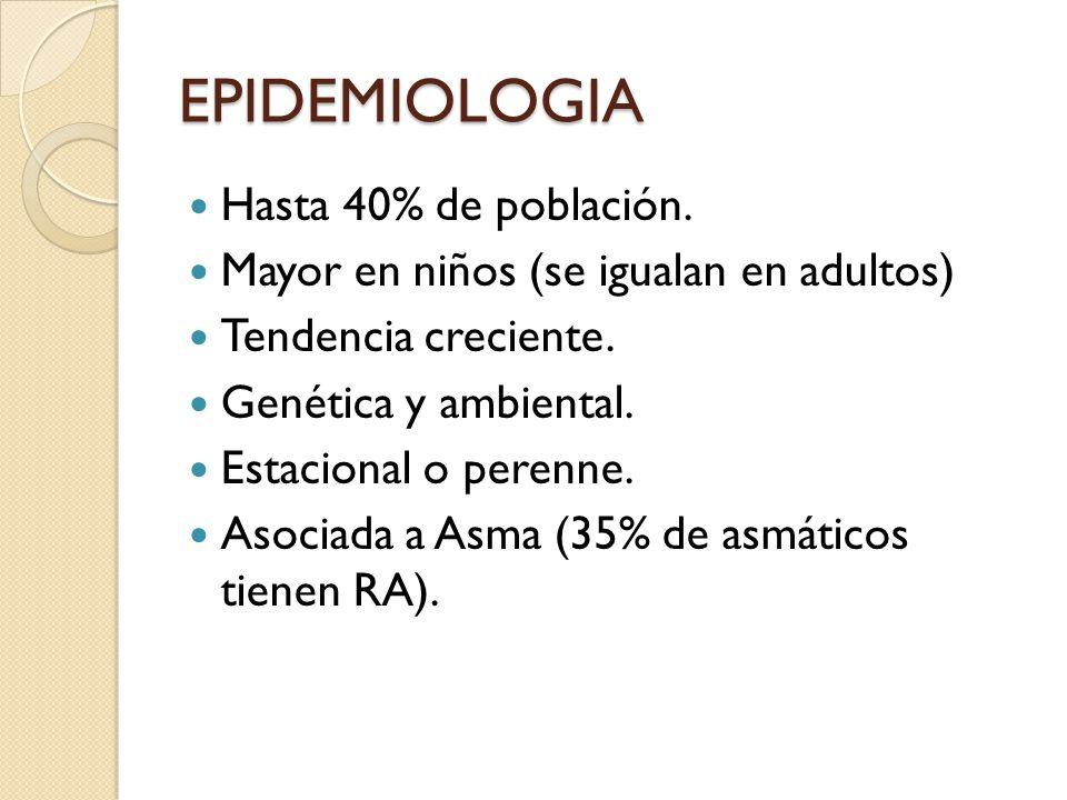 EPIDEMIOLOGIA Hasta 40% de población. Mayor en niños (se igualan en adultos) Tendencia creciente. Genética y ambiental. Estacional o perenne. Asociada