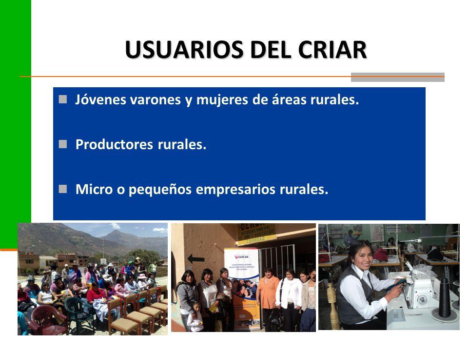 USUARIOS DEL CRIAR Jóvenes varones y mujeres de áreas rurales.