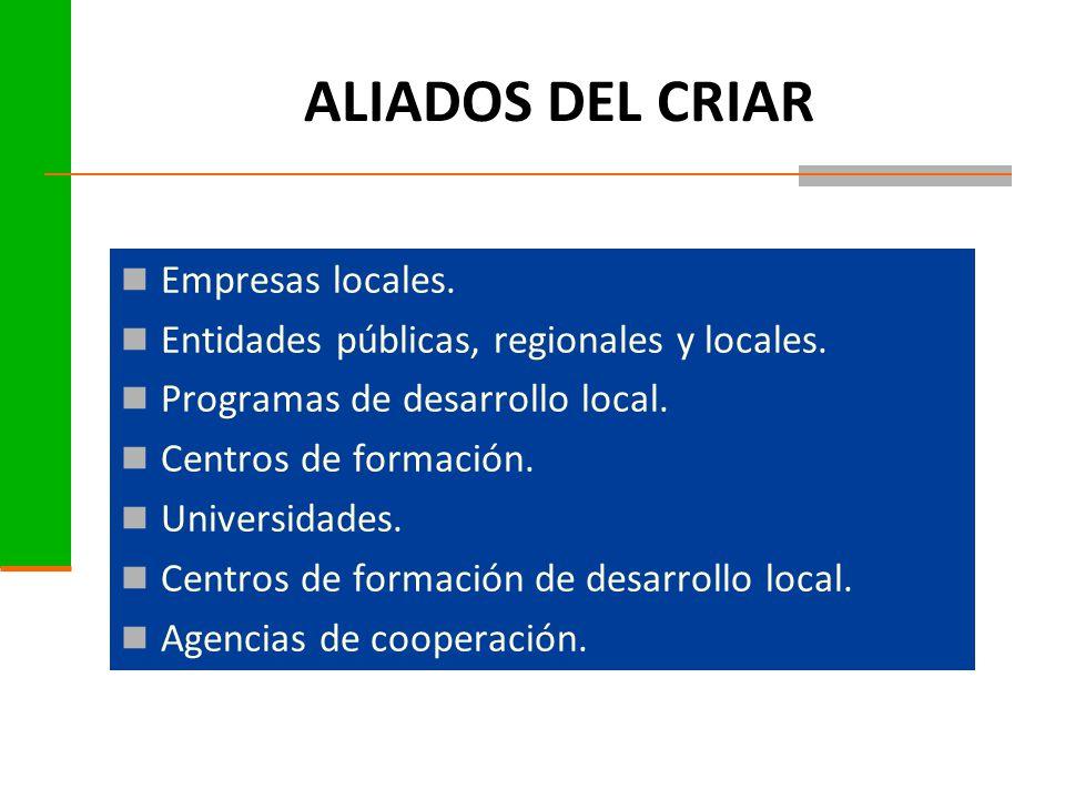 ALIADOS DEL CRIAR Empresas locales.Entidades públicas, regionales y locales.