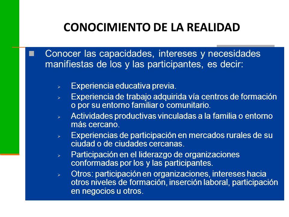Conocer las capacidades, intereses y necesidades manifiestas de los y las participantes, es decir:  Experiencia educativa previa.