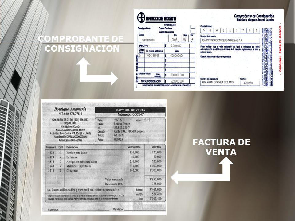 COMPROBANTE DE CONSIGNACION FACTURA DE VENTA