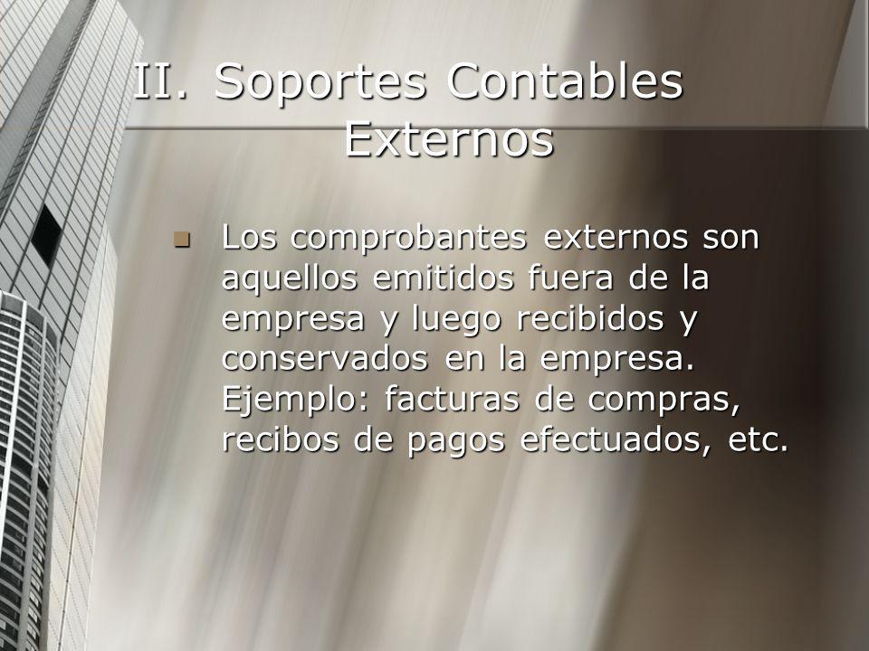 II.Soportes Contables Externos Los comprobantes externos son aquellos emitidos fuera de la empresa y luego recibidos y conservados en la empresa.