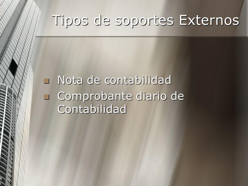 Tipos de soportes Externos Nota de contabilidad Nota de contabilidad Comprobante diario de Contabilidad Comprobante diario de Contabilidad