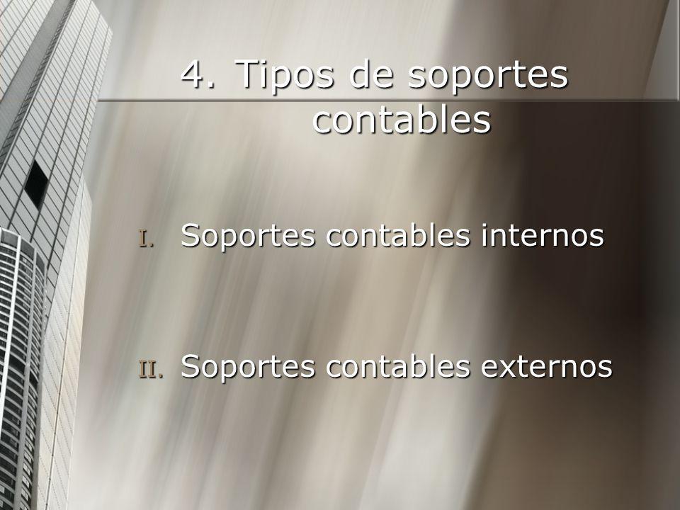 4.Tipos de soportes contables I. Soportes contables internos II. Soportes contables externos