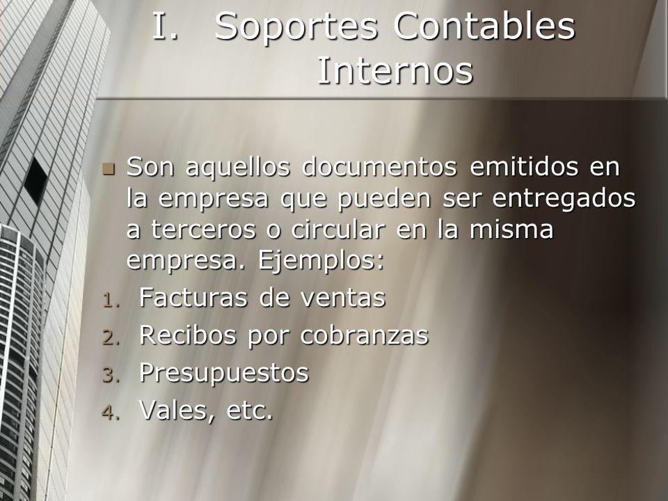 I.Soportes Contables Internos Son aquellos documentos emitidos en la empresa que pueden ser entregados a terceros o circular en la misma empresa.
