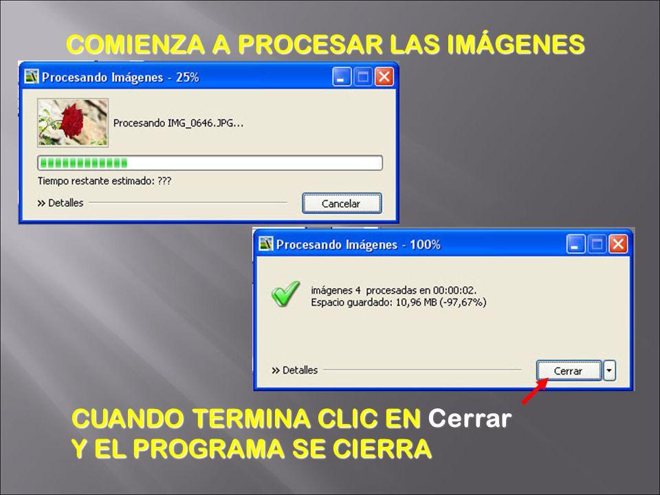 CUANDO TERMINA CLIC EN Cerrar Y EL PROGRAMA SE CIERRA COMIENZA A PROCESAR LAS IMÁGENES