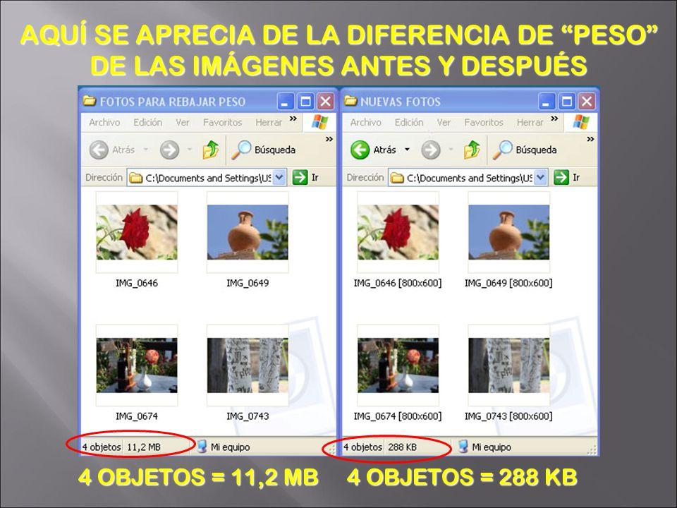 4 OBJETOS = 11,2 MB 4 OBJETOS = 288 KB AQUÍ SE APRECIA DE LA DIFERENCIA DE PESO DE LAS IMÁGENES ANTES Y DESPUÉS