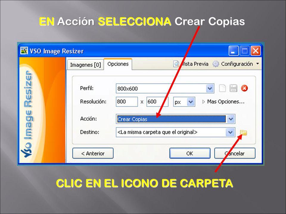 CLIC EN EL ICONO DE CARPETA EN Acción SELECCIONA Crear Copias