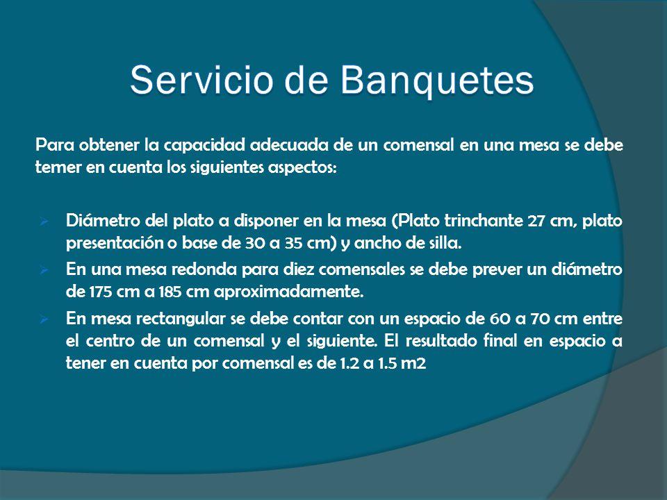 Para obtener la capacidad adecuada de un comensal en una mesa se debe temer en cuenta los siguientes aspectos:  Diámetro del plato a disponer en la m