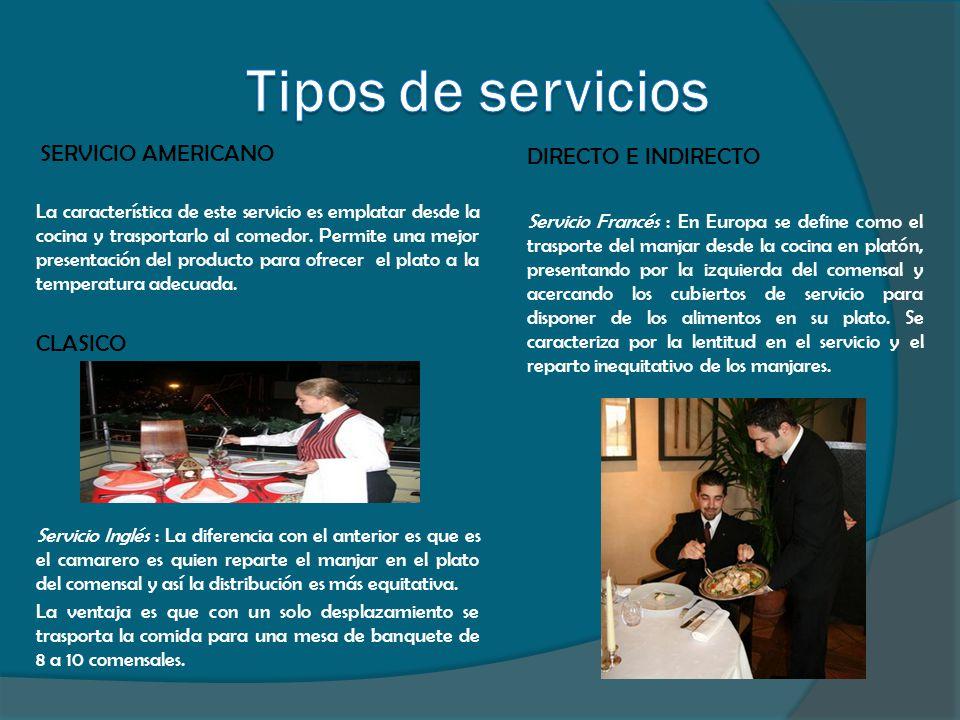 SERVICIO AMERICANO La característica de este servicio es emplatar desde la cocina y trasportarlo al comedor. Permite una mejor presentación del produc