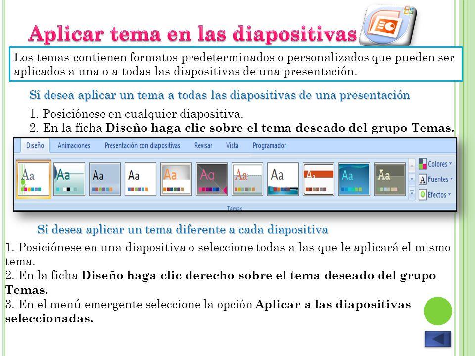 Los temas contienen formatos predeterminados o personalizados que pueden ser aplicados a una o a todas las diapositivas de una presentación. Sí desea