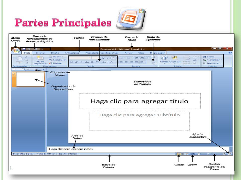 Una presentación de PowerPoint es un archivo que incluye una o varias diapositivas que se pueden utilizar para presentar por lo general en pantalla la información, mediante objetos, textos, animaciones, etc.
