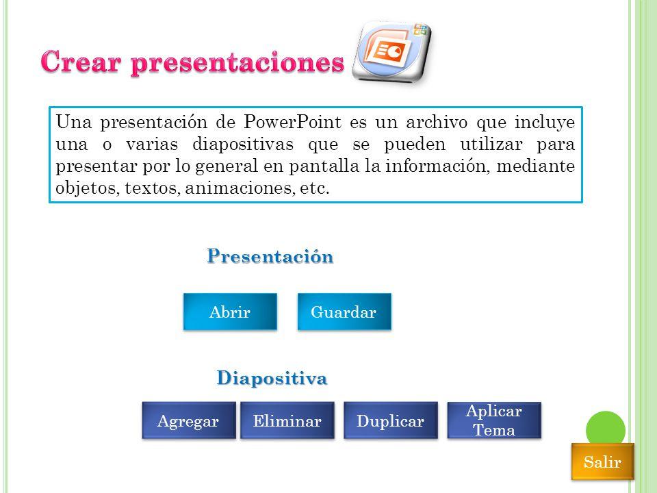 Una presentación de PowerPoint es un archivo que incluye una o varias diapositivas que se pueden utilizar para presentar por lo general en pantalla la