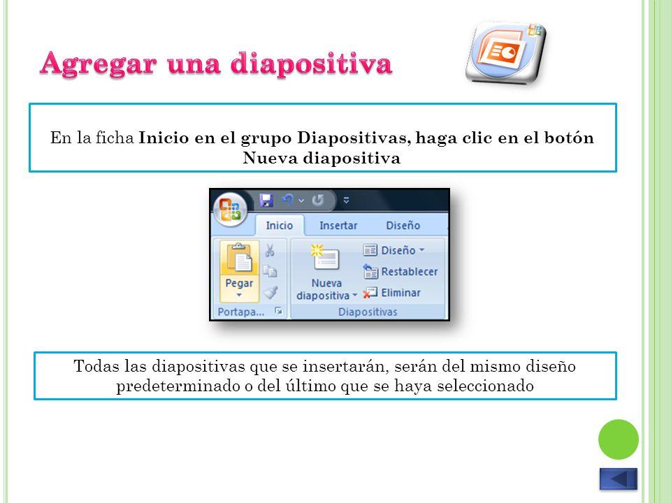 Posiciónese en la diapositiva que desee eliminar, vaya a la ficha Inicio y en el grupo Diapositivas, haga clic en el botón Eliminar.