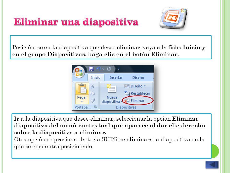 Seleccione la diapositiva que desea duplicar, vaya a la ficha Inicio y en el grupo Diapositivas, haga clic en la flecha del botón Nueva diapositiva, y seleccione la opción Duplicar diapositivas seleccionadas.