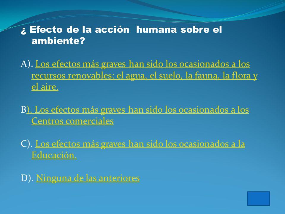 Vamos a probar que tanto sabes acerca del efecto de la especie humana sobre el ambiente…