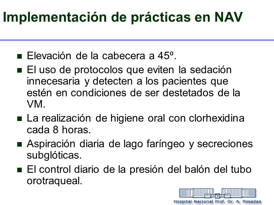 Implementación de prácticas en NAV Elevación de la cabecera a 45º. El uso de protocolos que eviten la sedación innecesaria y detecten a los pacientes