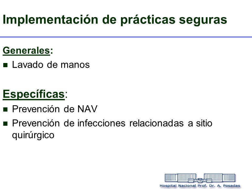 Implementación de prácticas seguras Generales: Lavado de manos Específicas: Prevención de NAV Prevención de infecciones relacionadas a sitio quirúrgic