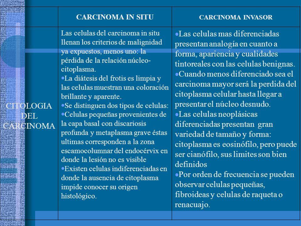 Carcinoma in situ Lesión intraepitelial de alto Grado: Displasia Severa(1) células atípicas sugestivas a carcinoma in situ (2) Lesión intraepitelial de alto Grado: Carcinoma in situ (1) alteración acentuada en células profundas (en fila india)