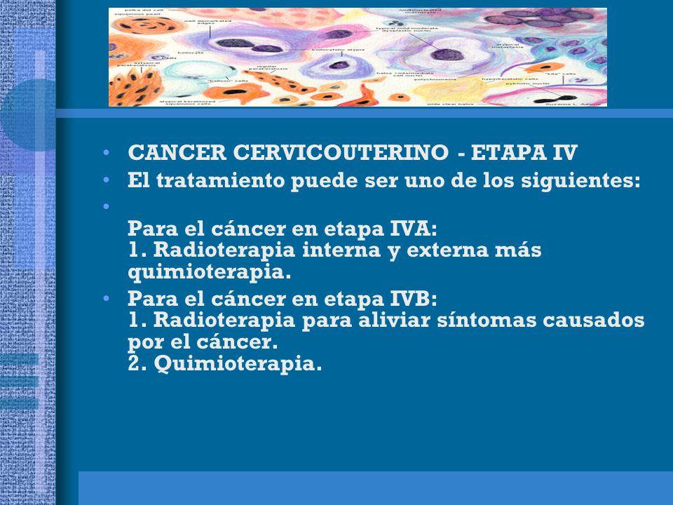 CANCER CERVICOUTERINO - RECURRENTE Si el cáncer ha vuelto (reaparecido) en la pelvis, el tratamiento puede ser uno de los siguientes: 1.