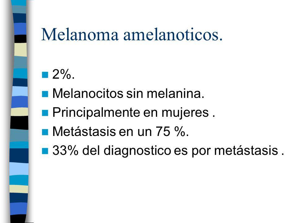 Melanoma amelanoticos. 2%. Melanocitos sin melanina. Principalmente en mujeres. Metástasis en un 75 %. 33% del diagnostico es por metástasis.