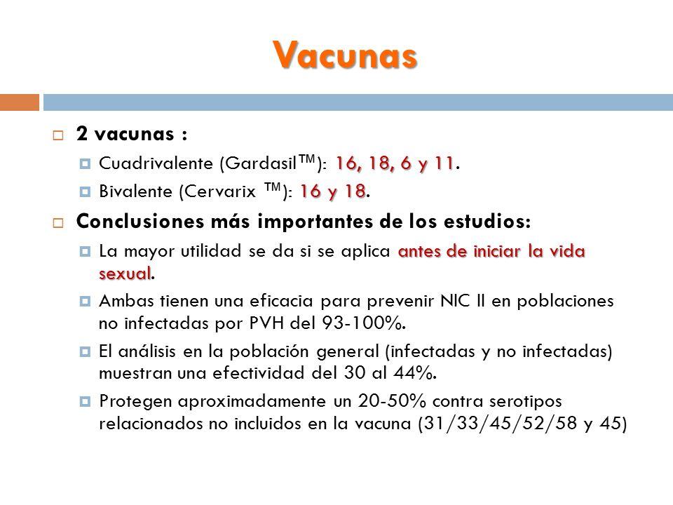 Vacunas  2 vacunas : 16, 18, 6 y 11  Cuadrivalente (Gardasil™): 16, 18, 6 y 11.