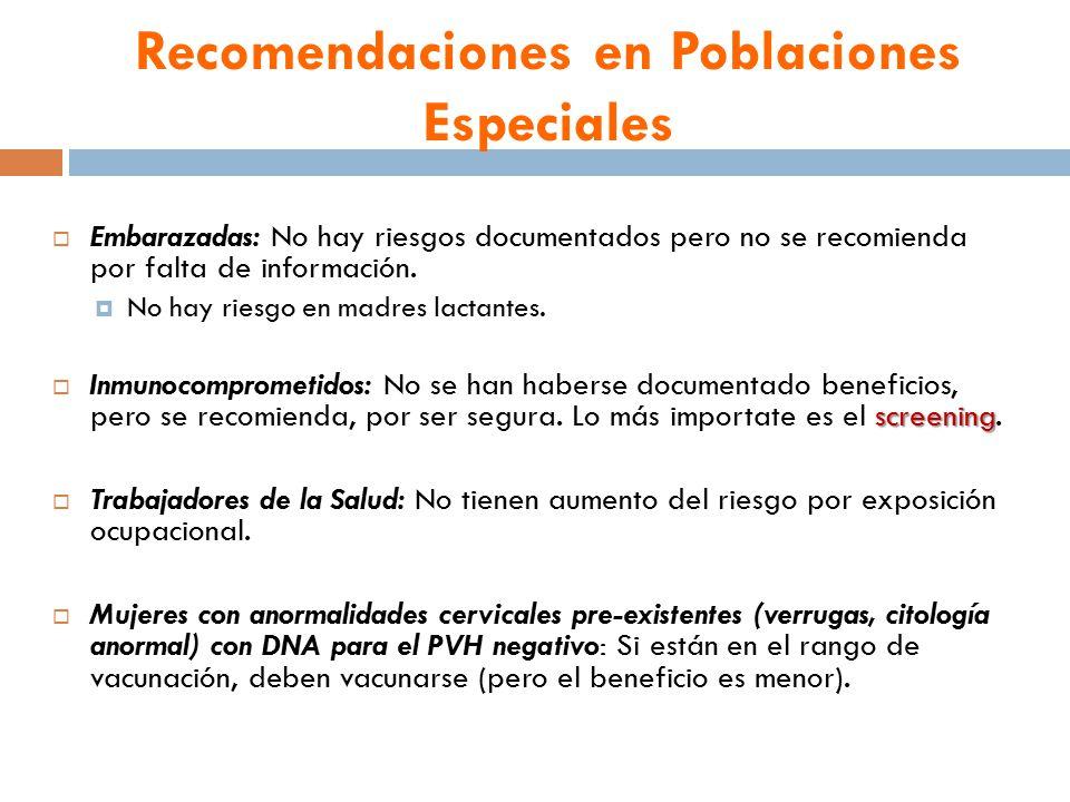 Recomendaciones en Poblaciones Especiales  Embarazadas: No hay riesgos documentados pero no se recomienda por falta de información.
