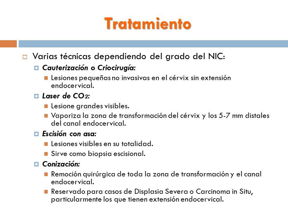 Tratamiento  Varias técnicas dependiendo del grado del NIC:  Cauterización o Criocirugía: Lesiones pequeñas no invasivas en el cérvix sin extensión endocervical.