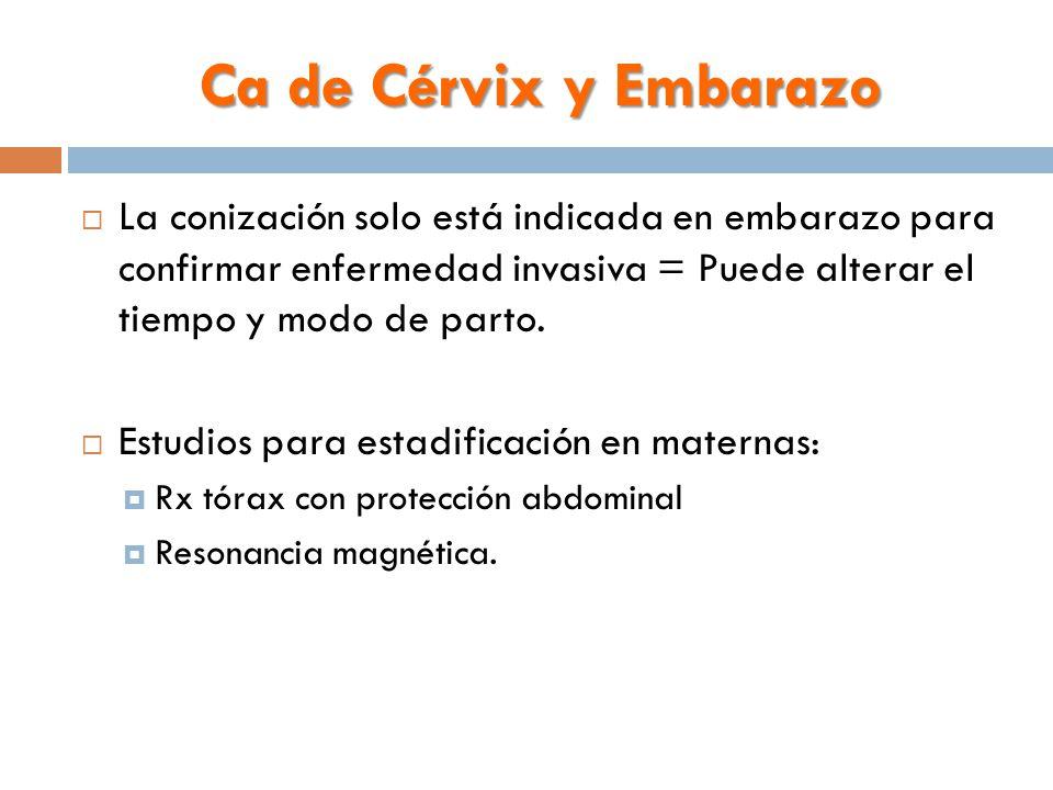 Ca de Cérvix y Embarazo  La conización solo está indicada en embarazo para confirmar enfermedad invasiva = Puede alterar el tiempo y modo de parto.