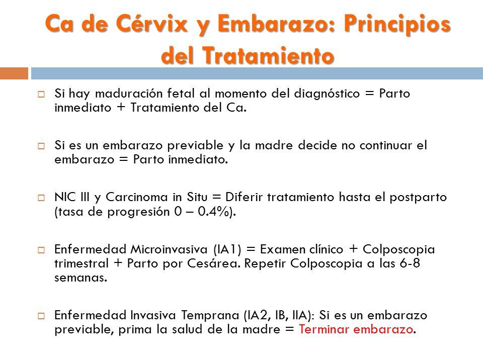 Ca de Cérvix y Embarazo: Principios del Tratamiento  Si hay maduración fetal al momento del diagnóstico = Parto inmediato + Tratamiento del Ca.