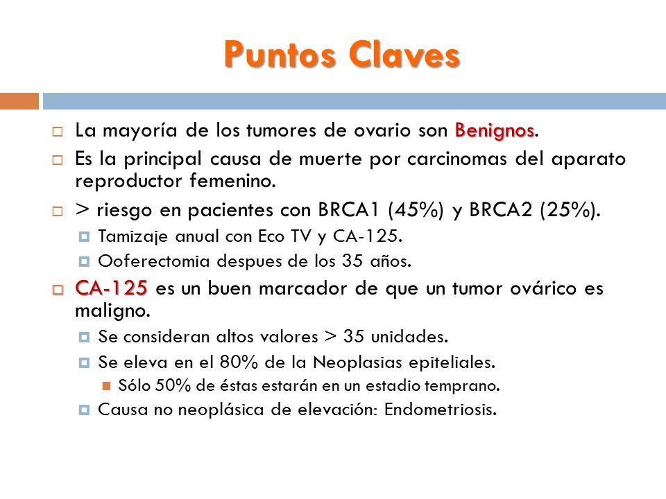 Puntos Claves Benignos  La mayoría de los tumores de ovario son Benignos.