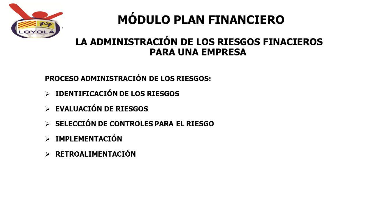 LA ADMINISTRACIÓN DE LOS RIESGOS FINACIEROS PARA UNA EMPRESA MÓDULO PLAN FINANCIERO PROCESO ADMINISTRACIÓN DE LOS RIESGOS:  IDENTIFICACIÓN DE LOS RIE