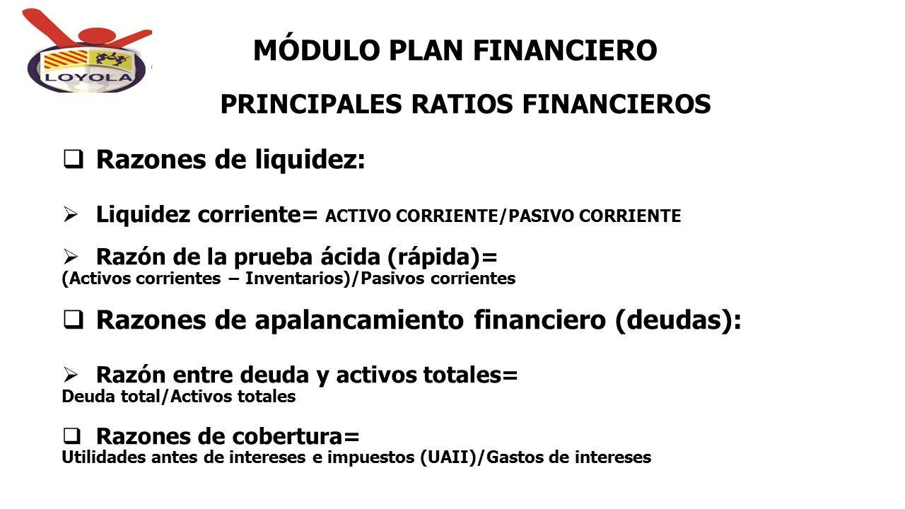 PRINCIPALES RATIOS FINANCIEROS MÓDULO PLAN FINANCIERO  Razones de liquidez:  Liquidez corriente= ACTIVO CORRIENTE/PASIVO CORRIENTE  Razón de la pru